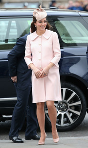 Kate Middleton was sweet in pink satin pumps paired with an Alexander McQueen coat during the Commonwealth Day service.