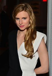 Brit Marling added some color to her black-and-white look with this bubblegum pink lip shade.