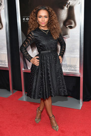 Janet Mock chose a classic textured LBD for the New York premiere of 'Concussion.'