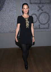 Lucy Liu's short shift LBD had pretty gold embroidery down the center and a cute A-line silhouette.