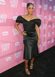 Tiffany Haddish finished off her look with a pair of bedazzled strappy sandals.