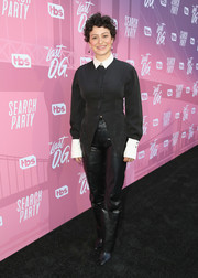 Alia Shawkat donned a fitted black blouse with a contrast collar and cuffs for the 'Search Party' FYC event.