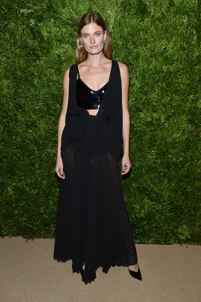 Constance Jablonski Sheer Dress [clothing,dress,fashion,fashion model,day dress,little black dress,formal wear,neck,haute couture,bridal party dress,constance jablonski,vogue fashion fund 2019 awards,new york city,cipriani south street,cfda]