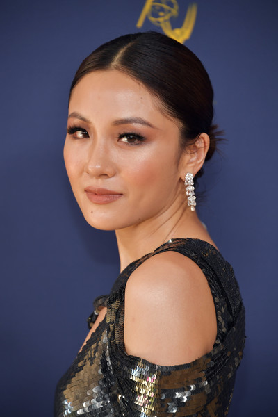 Constance Wu Diamond Chandelier Earrings [hair,face,hairstyle,eyebrow,beauty,chin,lady,fashion,lip,forehead,arrivals,constance wu,emmy awards,70th emmy awards,microsoft theater,los angeles,california]