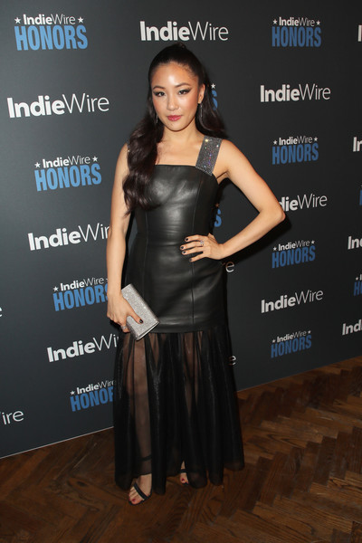 Constance Wu Beaded Clutch [little black dress,beauty,flooring,shoulder,fashion model,fashion,dress,cocktail dress,carpet,fashion design,indiewire honors 2018,no name,los angeles,california,constance wu]