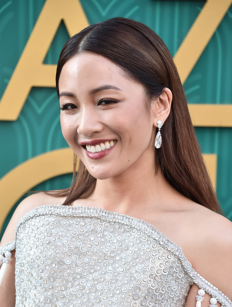 Constance Wu Dangling Diamond Earrings [crazy rich asians,crazy rich asiaans,hair,face,skin,hairstyle,facial expression,eyebrow,smile,beauty,shoulder,chin,premiere - arrivals,constance wu,california,hollywood,warner bros. pictures,tcl chinese theatre imax,premiere]