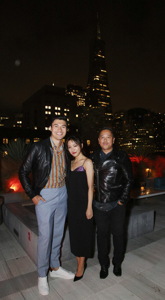 Constance Wu Cocktail Dress [snapshot,night,fashion,event,leather jacket,fun,leg,photography,city,vacation,steve jang,friends,constance wu,rembrandt flores,henry golding,l-r,california,san francisco,crazy rich asians viewing party,warner bros. pictures]