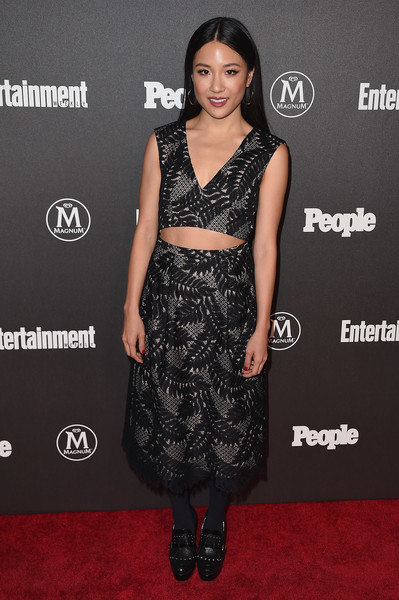 Constance Wu Full Skirt [entertainment weekly,people new york,upfronts,vip party,clothing,dress,cocktail dress,carpet,fashion,red carpet,hairstyle,fashion model,shoulder,premiere,new york city,cedar lake,constance wu]