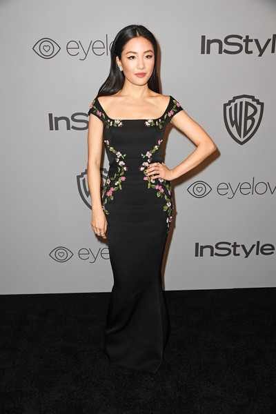 Constance Wu Off-the-Shoulder Dress [dress,clothing,shoulder,fashion model,hairstyle,fashion,carpet,beauty,red carpet,cocktail dress,arrivals,constance wu,beverly hills,california,the beverly hilton hotel,warner bros. pictures,instyle host,post-golden globes party]