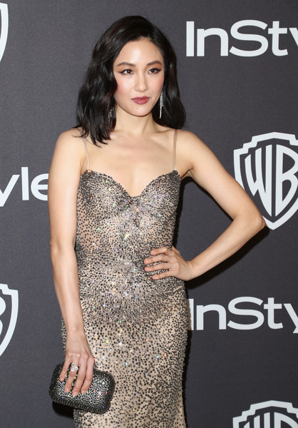 Constance Wu Diamond Ring [dress,clothing,shoulder,cocktail dress,fashion model,premiere,beauty,hairstyle,fashion,joint,constance wu,beverly hills,california,the beverly hilton hotel,instyle,golden globes,warner bros.,arrivals,party]