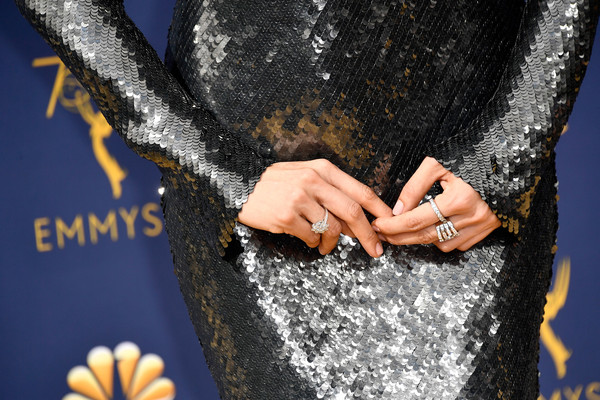 Constance Wu Diamond Ring [hand,yellow,tree,finger,photography,jeans,gesture,dress,nail,engagement ring,arrivals,constance wu,emmy awards,70th emmy awards,jewelry detail,microsoft theater,los angeles,california]