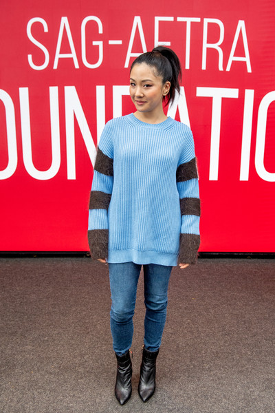 Constance Wu Skinny Jeans [fashion,footwear,jeans,denim,font,outerwear,premiere,style,sleeve,sag-aftra foundation conversation: ``hustlers,new york city,robin williams center,constance wu]