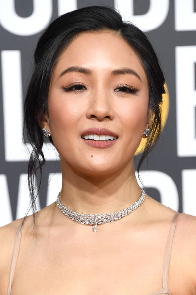 Constance Wu Loose Braid [hair,face,eyebrow,hairstyle,lip,skin,chin,beauty,cheek,forehead,arrivals,constance wu,the beverly hilton hotel,beverly hills,california,golden globe awards]