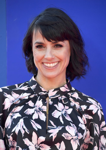 Constance Zimmer Short Wavy Cut [hair,hairstyle,chin,bob cut,black hair,bangs,smile,hair coloring,brown hair,electric blue,arrivals,constance zimmer,wonder park,california,los angeles,regency bruin theatre,paramount pictures,premiere,premiere]