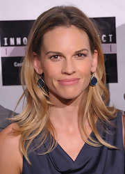 'Conviction' star Hilary Swank arrived at the New York screening wearing a sterling silver Wonderland Large teardrop earrings in Indigo.