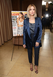 Ashley Benson paired her jacket with high-waisted trousers.