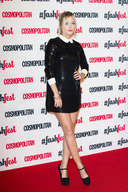 A sequined Peter-Pan collar mini dress was Laura Whitmore's outfit of choice at Cosmopolitan's  #FashFest.