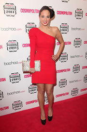 Tulisa Contostavlos paired her red hot dress at the 'Cosmopolitan' event with black patent leather platform pumps.