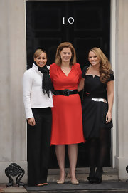 Jessica Ennis spruced up her attire with a fringed black scarf at the Cosmopolitan Women of the Year Downing Street Reception.