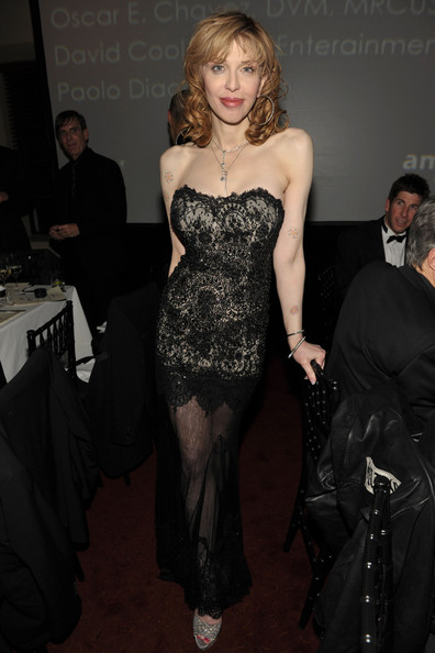Courtney Love Evening Dress [amfar inspiration gala celebrating mens style with piaget,clothing,dress,fashion,strapless dress,hairstyle,shoulder,carpet,blond,flooring,haute couture,courtney love,men,style,piaget,california,los angeles,chateau marmont,dsquared]
