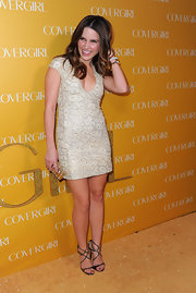 Sophia Bush kept her look light and feminine in strappy silver Jimmy Choo stilettos.