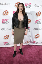 Rachel Bloom contrasted her sexy dress with a tough-looking leather jacket.