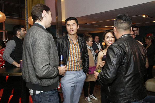 More Pics of Constance Wu Cocktail Dress (1 of 9) - Constance Wu Lookbook - StyleBistro [event,fashion,fun,party,crowd,steve jang,friends,guest,constance wu,henry golding,l-r,california,san francisco,crazy rich asians viewing party,warner bros. pictures]