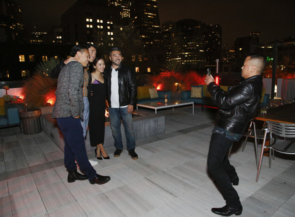More Pics of Constance Wu Cocktail Dress (7 of 9) - Constance Wu Lookbook - StyleBistro [standing,night,event,dance,textile,leather jacket,leather,jeans,city,jacket,steve jang,friends,constance wu,jon chu,henry golding,rembrandt flores,l-r,california,crazy rich asians viewing party,warner bros. pictures]