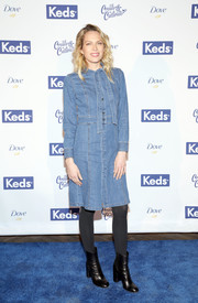 Erin Foster was casual and cute in a button-front denim dress at the Create & Cultivate 100 event.