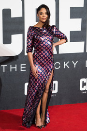 Tessa Thompson kept the shine coming with a pair of silver pumps.