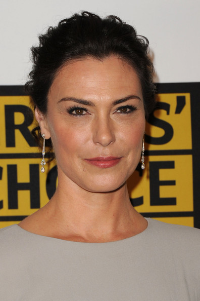 More Pics of Michelle Forbes Gemstone Inlaid Clutch (5 of 5) - Clutches Lookbook - StyleBistro [hair,face,eyebrow,hairstyle,chin,forehead,beauty,lip,shoulder,smile,arrivals,michelle forbes,beverly hills hotel,california,critics choice television awards]