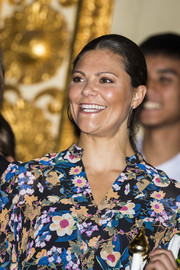 Princess Victoria kept it minimal with this center-parted ponytail at the Junior Water Prize 2017.