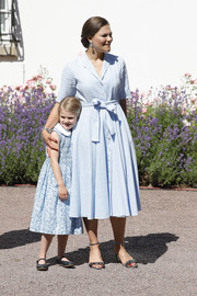 Princess Victoria styled her dress with a pair of silver ruffle sandals.