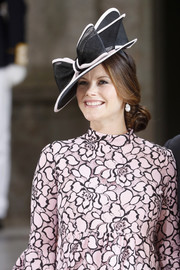 Princess Sofia of Sweden wore a bowed black hat with white trim to Princess Victoria's 40th birthday celebration.