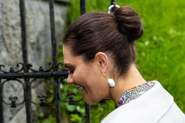 Princess Victoria styled her hair into a classic bun for the the annual meeting of the Nordic Museum and Skansen & Friends.