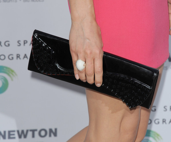 Crystal Reed Leather Clutch