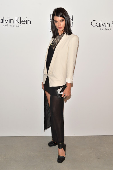 Crystal Renn Box Clutch [calvin klein collection post show,clothing,white,fashion model,fashion,shoulder,neck,fashion show,outerwear,formal wear,leg,crystal renn,new york city,calvin klein collection,spring studios,event,mercedes-benz fashion week,fashion show event]