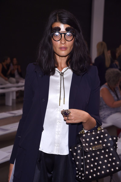 Crystal Renn Statement Ring [eyewear,fashion,street fashion,fashion design,glasses,outerwear,vision care,event,sunglasses,fashion show,zac posen,crystal renn,front row,new york city,spring studios,new york fashion week,fashion show]