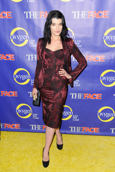 Crystal Renn Corset Dress [the face series premiere,clothing,dress,shoulder,cocktail dress,carpet,joint,premiere,electric blue,flooring,long hair,crystal renn,new york city,marquee new york]