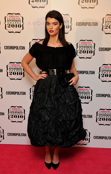 Crystal Renn Full Skirt [cosmopolitan ultimate women of the year awards 2010,clothing,dress,cocktail dress,carpet,little black dress,red carpet,hairstyle,fashion model,premiere,fashion,arrivals,crystal renn,cosmopolitan ultimate women of the year awards,england,london,banqueting house]
