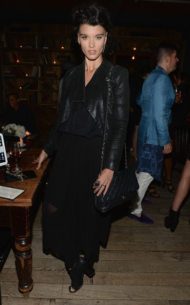 Crystal Renn Long Skirt [clothing,leather,fashion,leather jacket,dress,textile,leg,little black dress,outerwear,event,crystal renn,dinner,freemans restaurant,new york city,modelinia fashion week,freemans]
