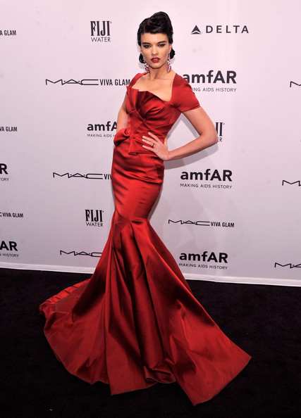 Crystal Renn Mermaid Gown [fashion model,clothing,dress,shoulder,gown,carpet,red,hairstyle,red carpet,flooring,crystal renn,arrivals,model,cipriani wall street,new york city,amfar new york gala to kick off fall 2013 fashion week]