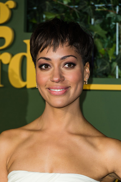 Cush Jumbo Pixie [hair,face,hairstyle,eyebrow,beauty,shoulder,chin,lip,forehead,black hair,red carpet arrivals,cush jumbo,evening standard theatre awards,london,england,the old vic theatre]