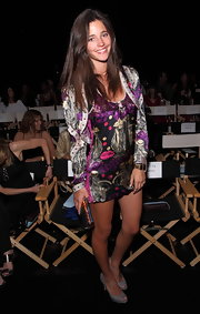Malena Costa stepped out at Custo Barcelona fashion show wearing a colorful satin mini dress.