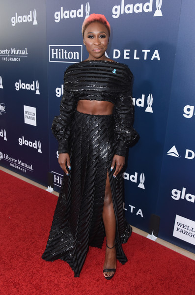 Cynthia Erivo Strappy Sandals [red carpet,carpet,clothing,shoulder,premiere,hairstyle,dress,fashion,flooring,crop top,cocktails,cynthia erivo,glaad media awards,red carpet,la,beverly hills,california,the beverly hilton hotel]
