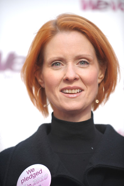 Cynthia Nixon Bob [pledge to volunteer,hair,face,hairstyle,chin,blond,smile,hair coloring,brown hair,cynthia nixon,pledge,new york city,military island,times square,we tv]