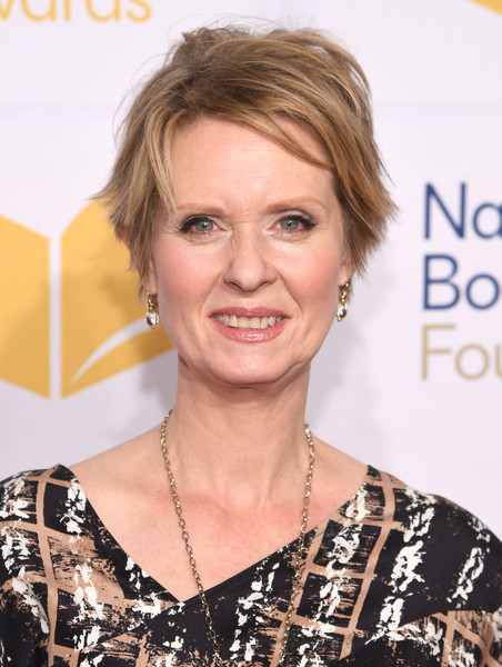 Cynthia Nixon Messy Cut [hair,face,hairstyle,skin,blond,eyebrow,beauty,chin,smile,lip,arrivals,cynthia nixon,cipriani wall street,new york city,national book awards]