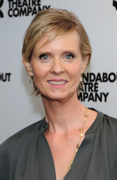 Cynthia Nixon Short Side Part [the real thing,cast photo,hair,face,hairstyle,blond,eyebrow,chin,beauty,shoulder,forehead,layered hair,cynthia nixon,new york city,broadway,roundabout theatre company,cast photo call]