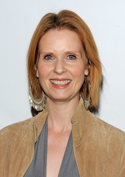 Cynthia Nixon Short Straight Cut [hair,face,hairstyle,blond,chin,shoulder,lip,smile,layered hair,brown hair,arrivals,cynthia nixon,red,curtain call,new york city,john golden theatre,broadway,opening]