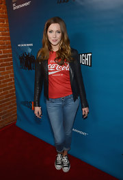 Camilla wore a classic leather jacket over a tee and jeans for Comic-Con.